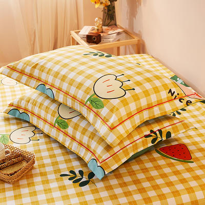 2021新款加厚全棉印花系列单枕套 48cmX74cm/对 快乐一家 黄