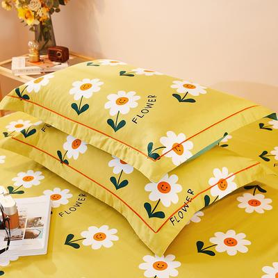 2021新款加厚全棉印花系列单枕套 48cmX74cm/对 你的微笑-黄