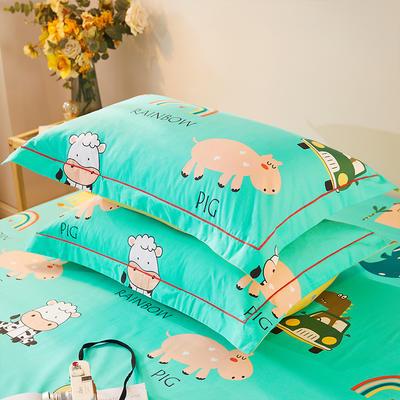 2021新款加厚全棉印花系列单枕套 48cmX74cm/对 牛气冲天 兰