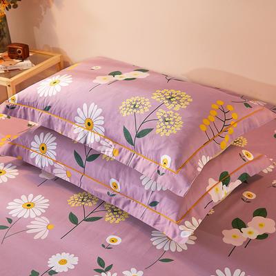 2021新款加厚全棉印花系列单枕套 48cmX74cm/对 舒雅风情 紫