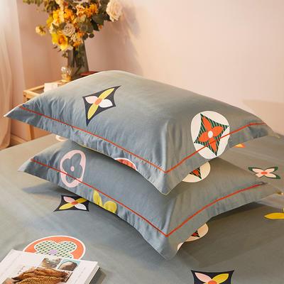 2021新款加厚全棉印花系列单枕套 48cmX74cm/对 香奈 灰