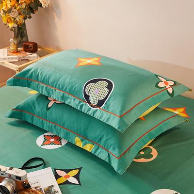 2021新款加厚全棉印花系列单枕套 48cmX74cm/对 香奈 绿