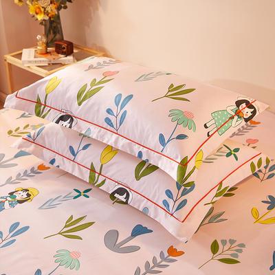 2021新款加厚全棉印花系列单枕套 48cmX74cm/对 小姐姐 粉