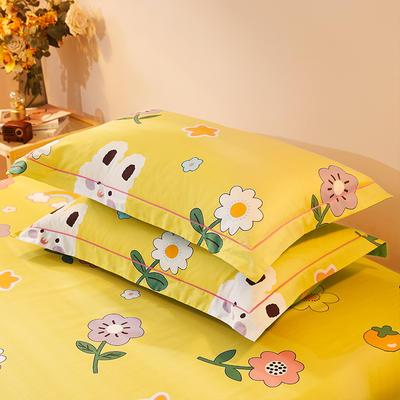 2021新款加厚全棉印花系列单枕套 48cmX74cm/对 小美好 黄