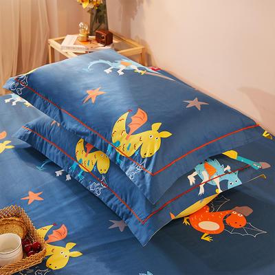 2021新款加厚全棉印花系列单枕套 48cmX74cm/对 小神兽 兰