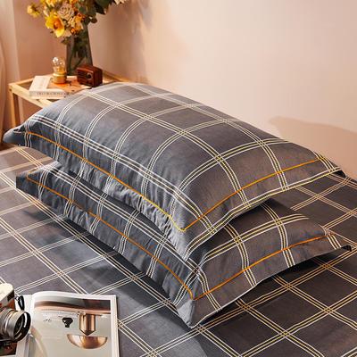 2021新款加厚全棉印花系列单枕套 48cmX74cm/对 幸福格调 深灰