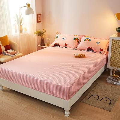2021新款加厚全棉印花系列单床笠 150cmx200cm 辫子女孩-粉格