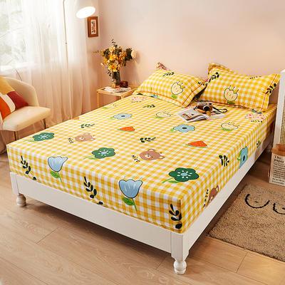 2021新款加厚全棉印花系列单床笠 150cmx200cm 快乐一家 黄