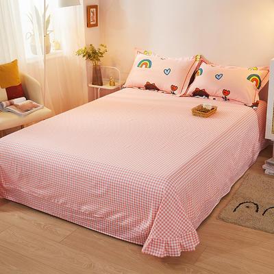 2021新款加厚全棉印花系列单床单 245cmx250cm 辫子女孩-粉格