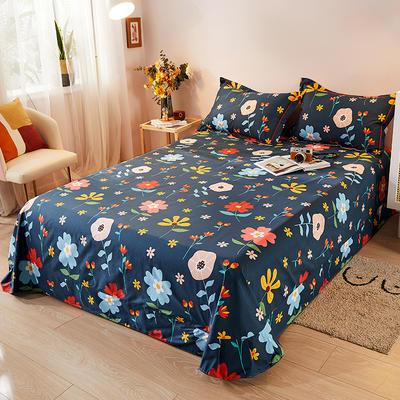 2021新款加厚全棉印花系列单床单 245cmx250cm 花町物语-米白