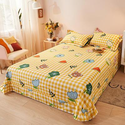 2021新款加厚全棉印花系列单床单 245cmx250cm 快乐一家 黄