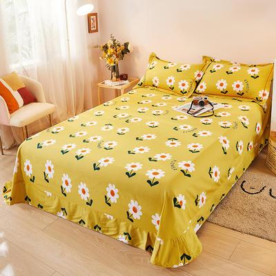 2021新款加厚全棉印花系列单床单 245cmx250cm 你的微笑-黄