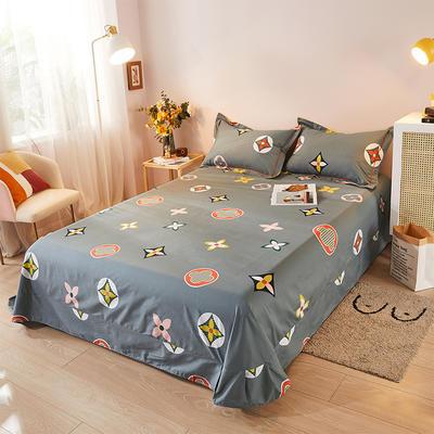 2021新款加厚全棉印花系列单床单 245cmx250cm 香奈 灰
