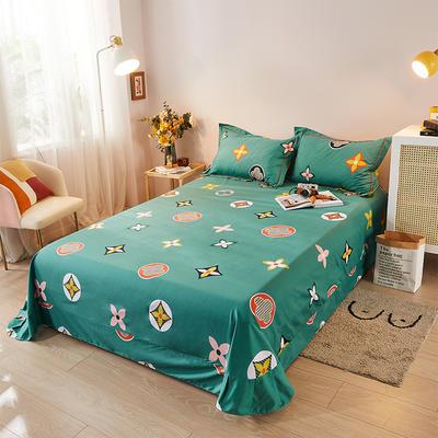 2021新款加厚全棉印花系列单床单 245cmx250cm 香奈 绿