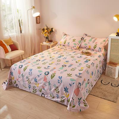 2021新款加厚全棉印花系列单床单 245cmx250cm 小姐姐 粉