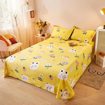 2021新款加厚全棉印花系列单床单 245cmx250cm 小美好 黄