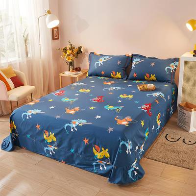 2021新款加厚全棉印花系列单床单 245cmx250cm 小神兽 兰