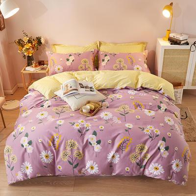 2021新款加厚全棉印花系列四件套 被套180*220cm床单款四件套 舒雅风情 紫