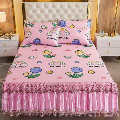 2021新款床裙款冰丝凉席三件套 150*200cm三件套 快乐猫咪