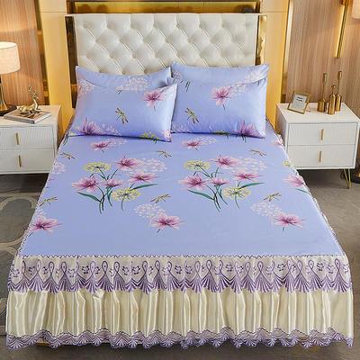2021新款床裙款冰丝凉席三件套 180*200cm三件套 罗卡娜