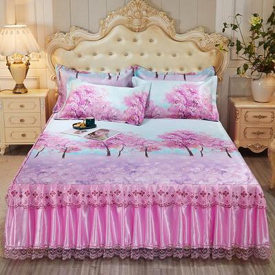2021新款床裙款冰丝凉席三件套 180*200cm三件套 梦幻空间