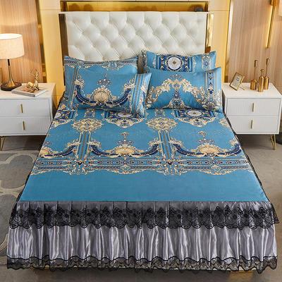 2021新款床裙款冰丝凉席三件套 180*200cm三件套 欧曼