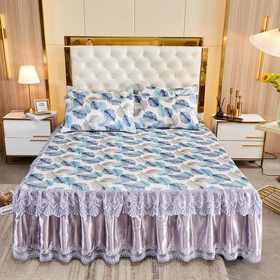2021新款床裙款冰丝凉席三件套 180*200cm三件套 叶影