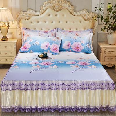 2021新款床裙款冰丝凉席三件套 180*200cm三件套 陌上开花