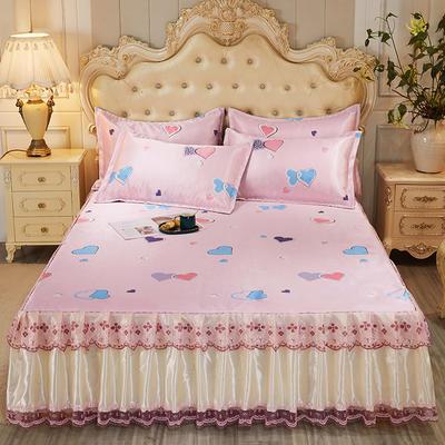 2021新款床裙款冰丝凉席三件套 180*200cm三件套 糖心蜜语