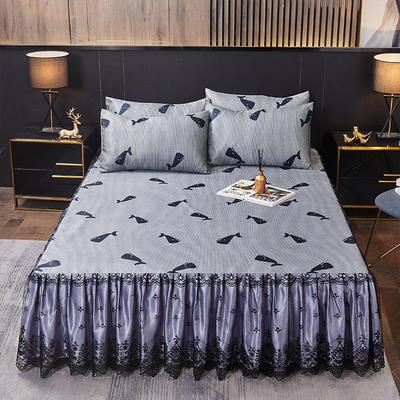 2021竹语蕾丝床裙冰丝席三件套-床裙款 180*200cm三件套 希曼罗岛