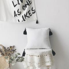 寐色家纺 全棉水洗棉+撞色大流苏抱枕(含芯) 45*45cm/白色