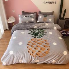 2018新款-宝宝绒宜家风四件套 1.5m(5英尺)床 菠萝