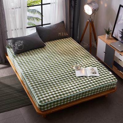 2018新款 - 爱思凯 水晶绒格子良品风夹棉床笠 150cmx200cm 绿小格