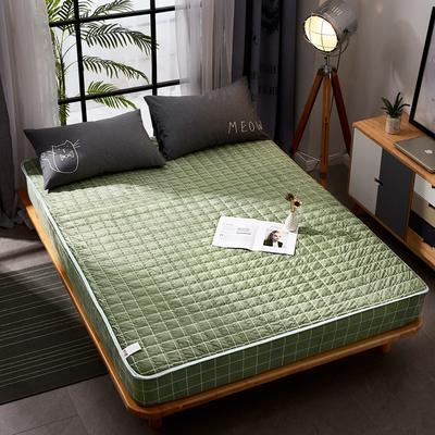 2018新款 - 爱思凯 水晶绒格子良品风夹棉床笠 150cmx200cm 品绿格