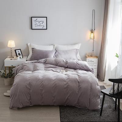 2018新款-爱思凯 水晶绒素色夹棉床笠四件套 1.2m(4英尺)床 灰色