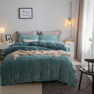 2018新款-爱思凯 水晶绒素色夹棉床笠四件套 1.2m(4英尺)床 墨绿