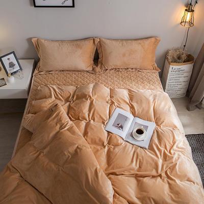 2018新款-爱思凯 水晶绒素色夹棉床笠四件套 1.5m(5英尺)床 驼色