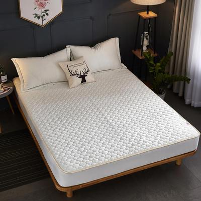 2018新款-爱思凯 水晶绒素色夹棉床笠 150cmx200cm 白色