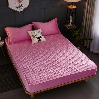 2018新款-爱思凯 水晶绒素色夹棉床笠 150cmx200cm 粉色