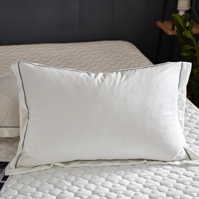 2018新款-爱思凯 水晶绒素色单枕套 48cmX74cm 白色/一对