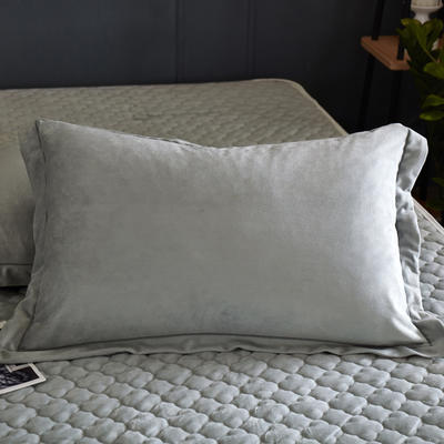 2018新款-爱思凯 水晶绒素色单枕套 48cmX74cm 灰色/一对