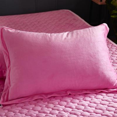 2018新款-爱思凯 水晶绒素色单枕套 48cmX74cm 粉色/一对
