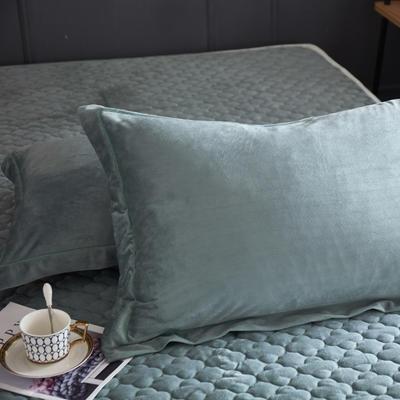 2018新款-爱思凯 水晶绒素色单枕套 48cmX74cm 墨绿/一对