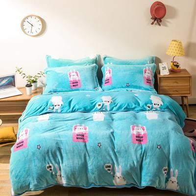 2018 爱思凯250克金貂绒四件套 (床单款)标准1.5/1.8M床 晚安小兔
