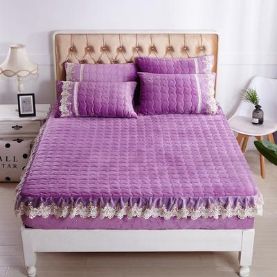 2018新款出水芙蓉系列金貂绒纯色夹棉床笠 150cmx200cm 玫瑰紫-花边