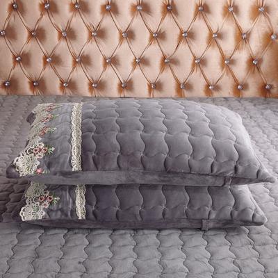 2018新款出水芙蓉系列金貂绒纯色夹棉带花边枕套 48cmX74cm 绅士灰-花边