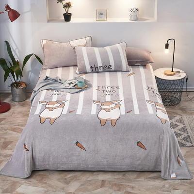2019新款250克牛奶绒珊瑚绒法莱绒金貂绒单床单  场景一 120cmx230cm 兔小哥