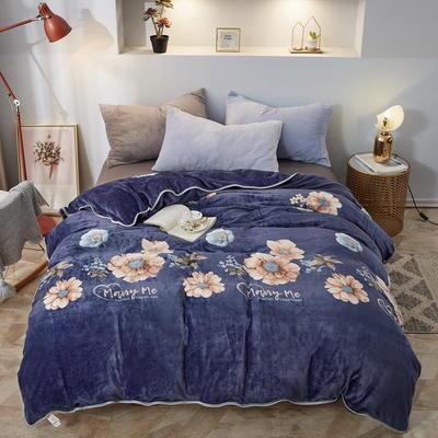 2019新款250克牛奶绒珊瑚绒法莱绒金貂绒单被套  场景一 150x200cm 满庭芳-蓝