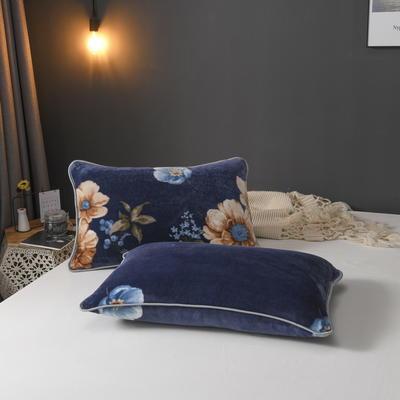 2019新款250克牛奶绒珊瑚绒法莱绒金貂绒单枕套  场景二 48cmx74cm/一只 满庭芳-蓝