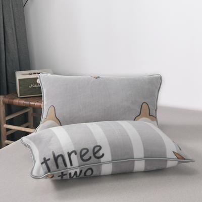 2019新款250克牛奶绒珊瑚绒法莱绒金貂绒单枕套  场景二 48cmx74cm/一只 兔小哥